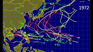 Pacific Tropical Cyclone TyphoonTrack for 1945-2013