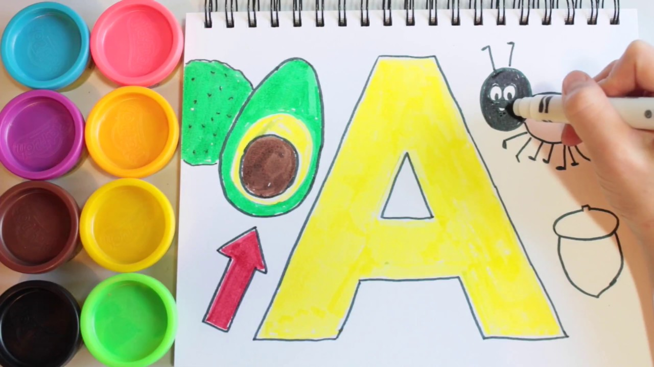 Letter A, Alphabet Drawing, Learn How to Draw ABC Coloring and Colours Kids  Educational Video