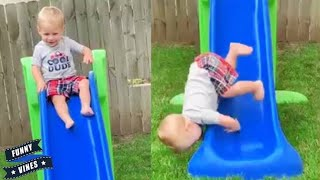 Funniest Baby playing on slide fails   Funny Baby Fail moments videos