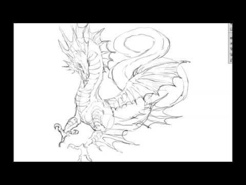 [그리다]드로잉 - 용 - 그림 그리기 [Grida] Dragon Drawing Speed Drawing