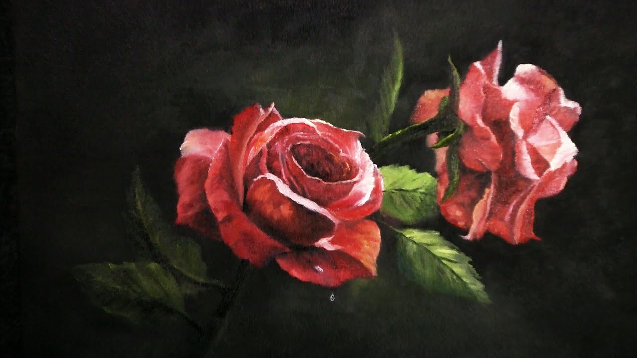 Paint with kevin hill red roses youtube for How to paint a rose in watercolor step by step