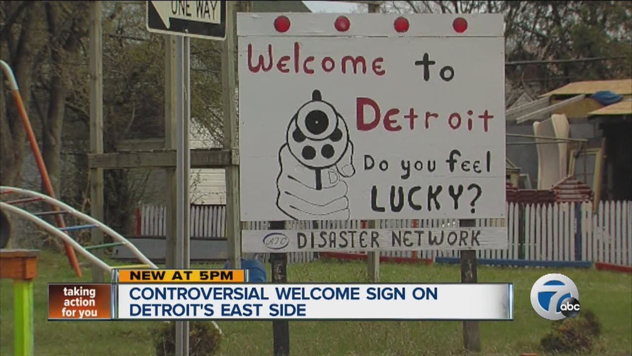 Controversial welcome sign on Detroit's east side - YouTube