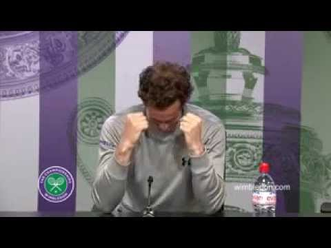 Andy Murray reacts to brother's win at Wimbledon press conference CUTE