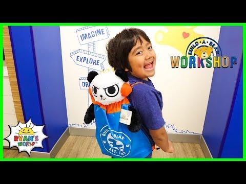 Ryan's First Combo Panda At Build-a-Bear Workshop!!!