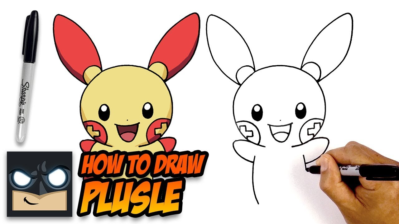 How To Draw Pokemon Plusle Step By Step For Beginners Youtube