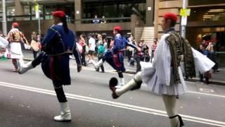 Greek tsoliades in Sydney Anzac DAY 2016