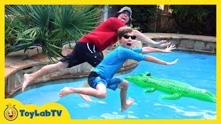 GIANT Inflatable Pool Toy Opening & Surprise Eggs, Dinosaur Toys, Water Balloons & Kids Family Fun
