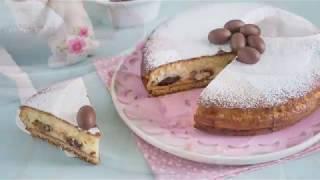Torta versata con ricotta e ovetti di cioccolato