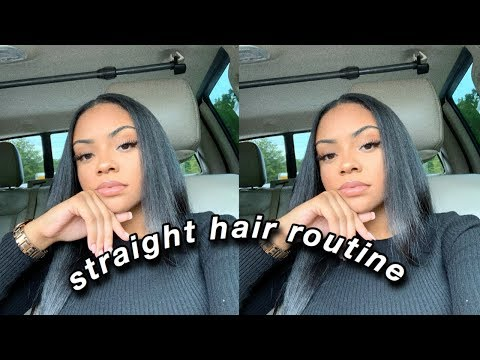 ♡ SLEEK STRAIGHT HAIR ROUTINE 2019 | CURLY TO STRAIGHT