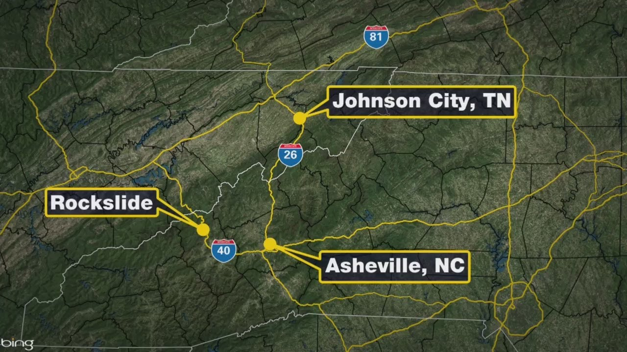 Rockslide closes I-40 at Tennessee-North Carolina state line on i-40 exits tennessee, i-40 in tennessee, i-40 road conditions tennessee, map of e tnn, map of northeast tn, map of knoxville tn and surrounding areas, interstate 40 tennessee, map hwy east tennessee,
