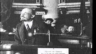Russian Bolshevik leader Vladimir Lenin addresses a crowd and Leon Trotsky talks,...HD Stock Footage