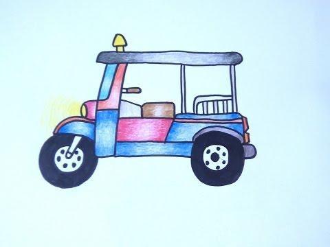 รถตุ๊กตุ๊ก สามล้อเครื่อง สอนวาดรูปการ์ตูนน่ารักง่ายๆ สอนวาดรูปการ์ตูนระบายสี