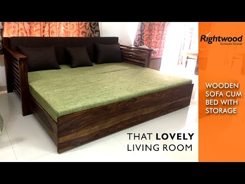 Sofa cum Bed WOODEN with storage is crafted in teak wood. Decorating your living room
