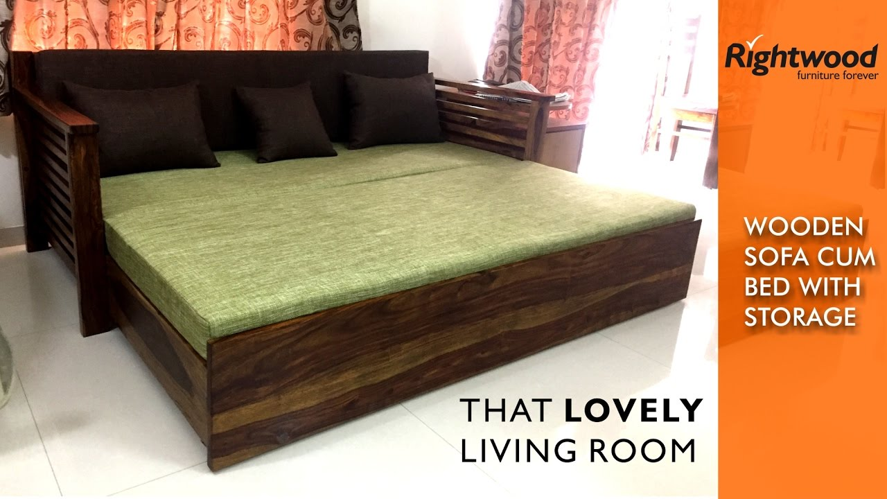 Sofa Cum Bed WOODEN With Storage Is Crafted In Teak Wood Decorating Your Living Room