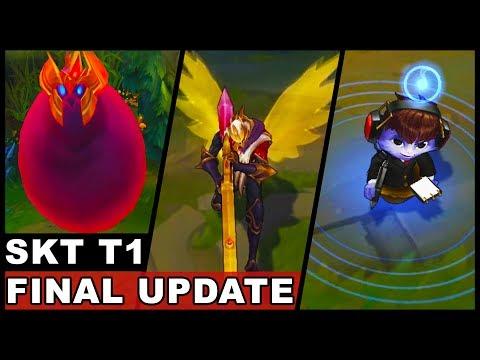 All New SKT T1 Skins Final Update Jhin Ekko Nami Syndra Zac Olaf (League of Legends)