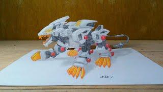 3D Drawing Liger Zero Zoids | Time Lapse