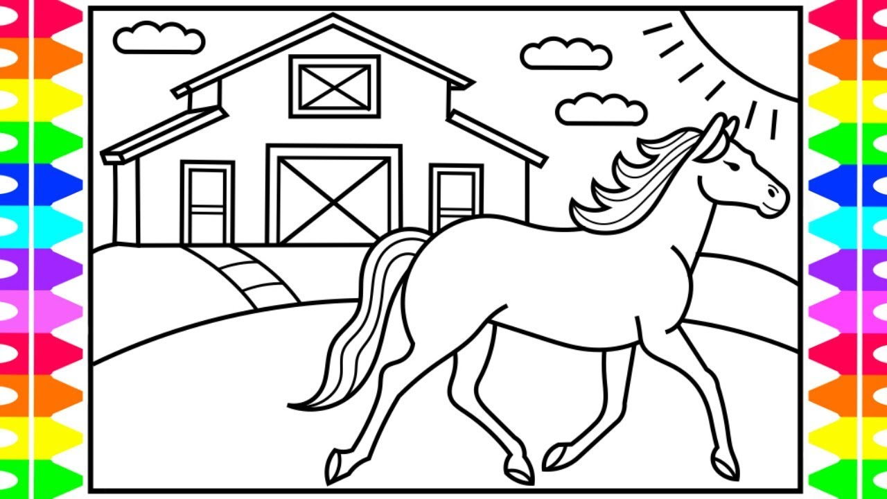How to Draw a Horse for Kids 💙💜🐴 Horse Drawing for Kids | Horse Coloring  Pages for Kids