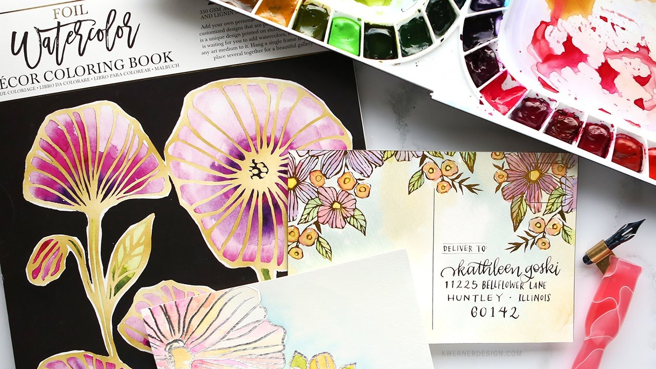 Watercolor paper coloring book - Trying Out The Prima Foil Watercolor Coloring Book