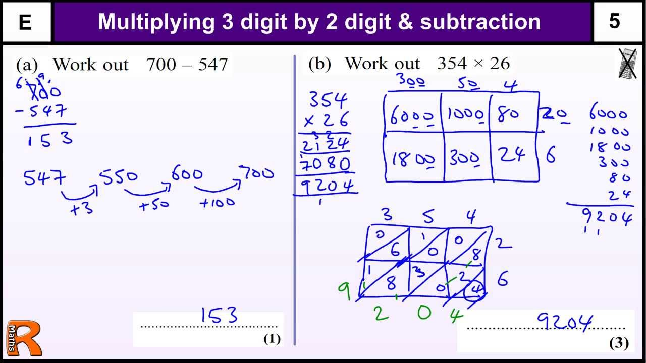 Long multiplication and subtraction gcse maths foundation for Revision multiplication