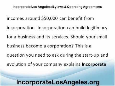 Incorporate Los Angeles: LLC Operating Agreement