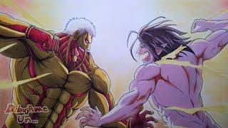 Dibujando a EREN TITAN VS TITAN ACORAZADO. Drawing  EREN vs ARMORED TITAN. Attack on Titan drawing
