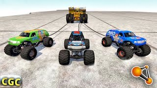 Epic Tug of War 3 by 3 cars DEath Falls BeamNG Drive