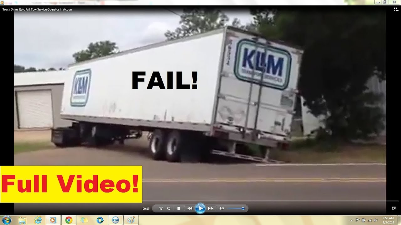 Truck Driver Epic Fail Tow Service Trucker In Action Wheeler - Best trailers 2014 one epic video