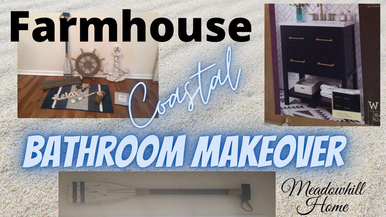 coastal farmhouse style bathroom makeover diy shower curtain new house before after