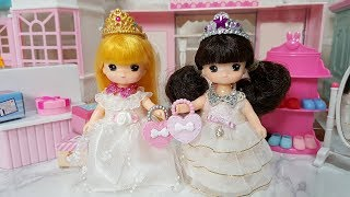 Baby doll Wedding shop and change dress with surprise eggs toys play