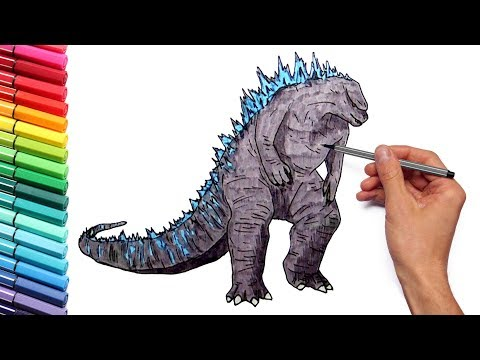 Godzilla Coloring Pages for Kids to Learn Colors - Draw and Color Godzilla Giant Dinosaur
