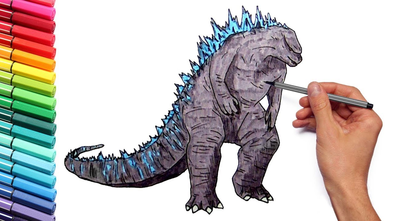 Nice Godzilla Coloring Pages For Kids To Learn Colors   Draw And Color Godzilla  Giant Dinosaur
