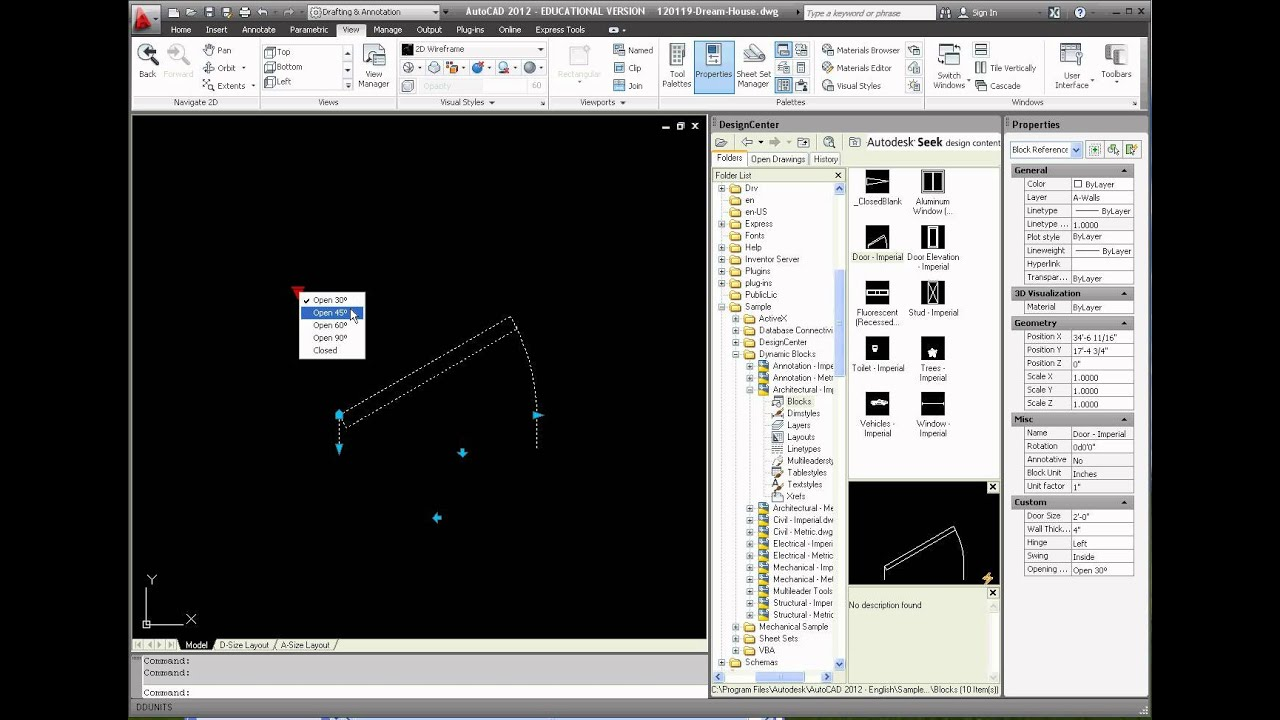 Autocad Week  Dynamic Block Door Insertion And Modifications Part