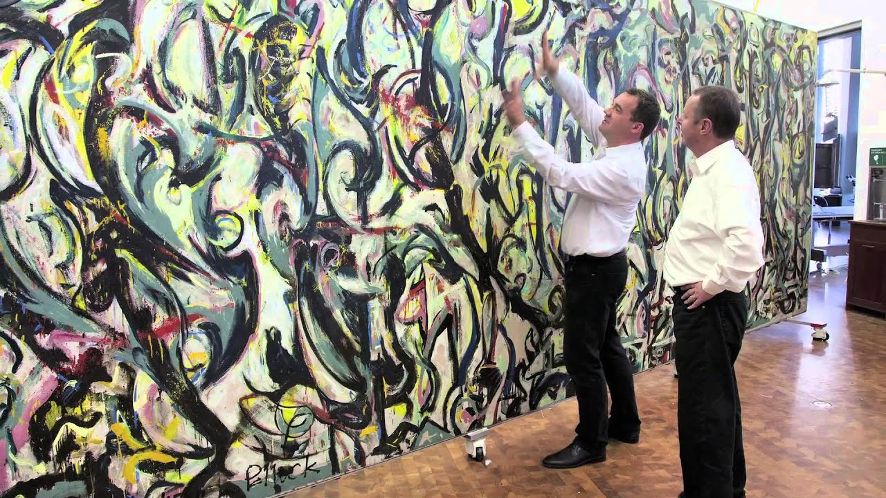 See the getty restore jackson pollock 39 s mural youtube for Mural jackson pollock