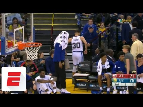 Stephen Curry limps to locker room after JaVale McGee falls on leg | ESPN