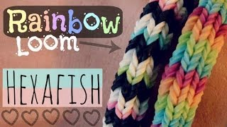 Repeat youtube video Rainbow Loom : HEXAFISH Bracelet - How To - 6-Pin Fishtail - Advanced