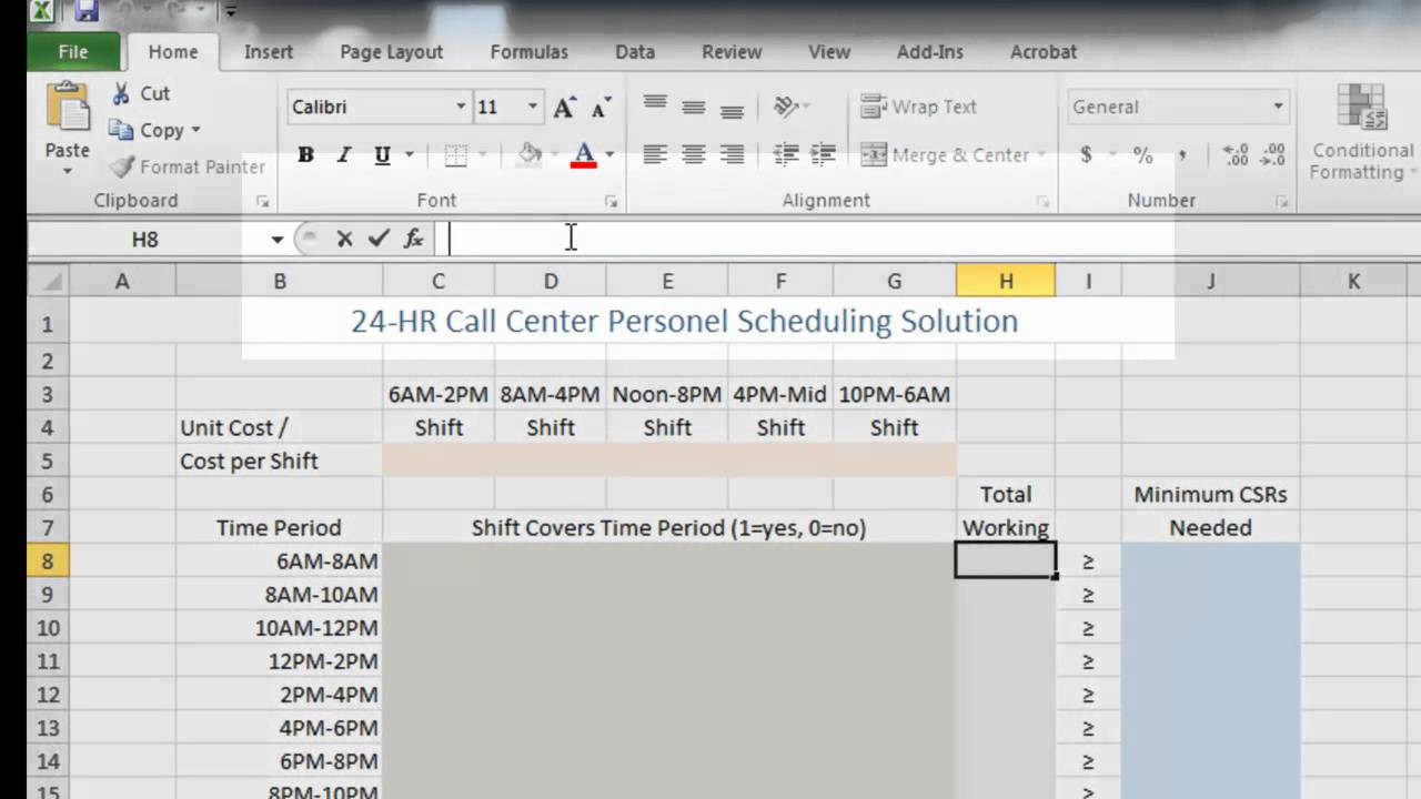 Call Center Staffing and Cost Reduction using Excel - YouTube