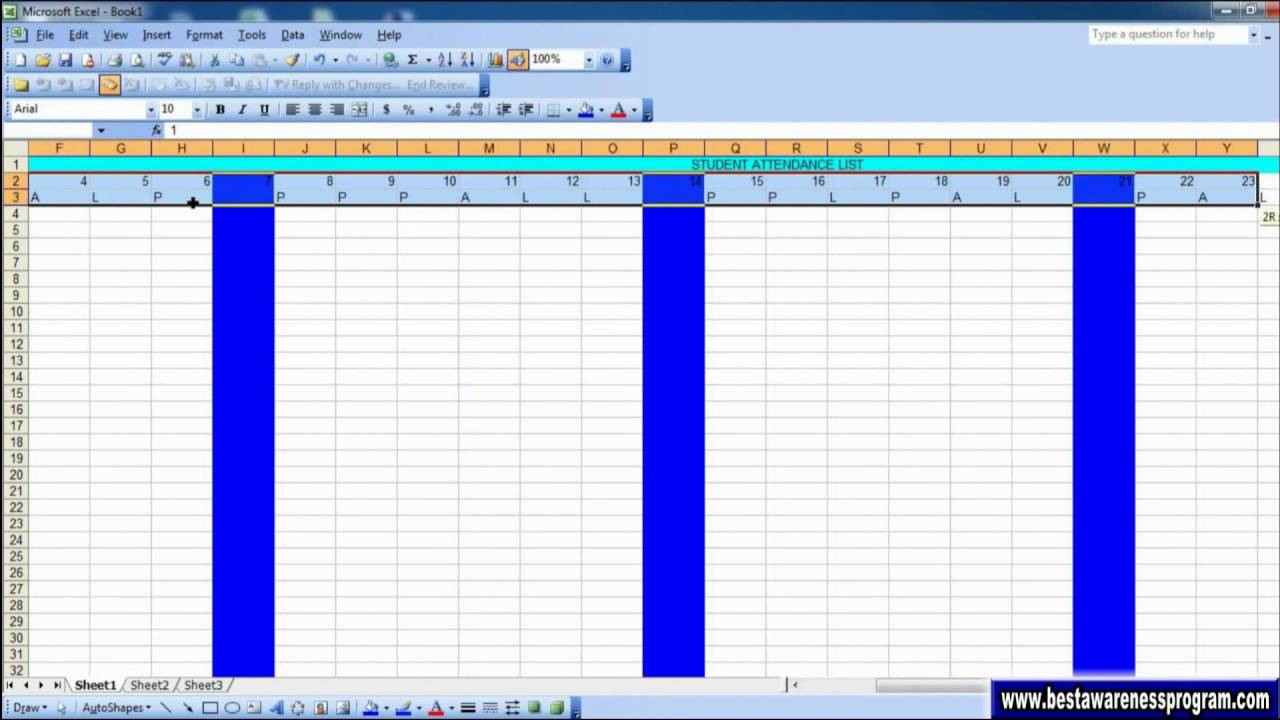 Attendance Sheet In Excel School Attendance Excel Attedance Sheet