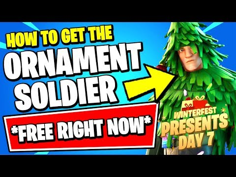 HOW TO UNLOCK FREE CHRISTMAS SKIN PRESENT RIGHT NOW!! (FORTNITE WINTERFEST - ORNAMENT SOLDIER)