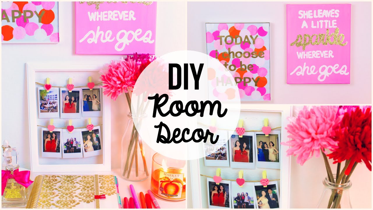Ideas For Room Decoration Alluring Diy Room Decor 2015 ♡ 3 Easy & Simple Wall Art Ideas  Youtube Decorating Design