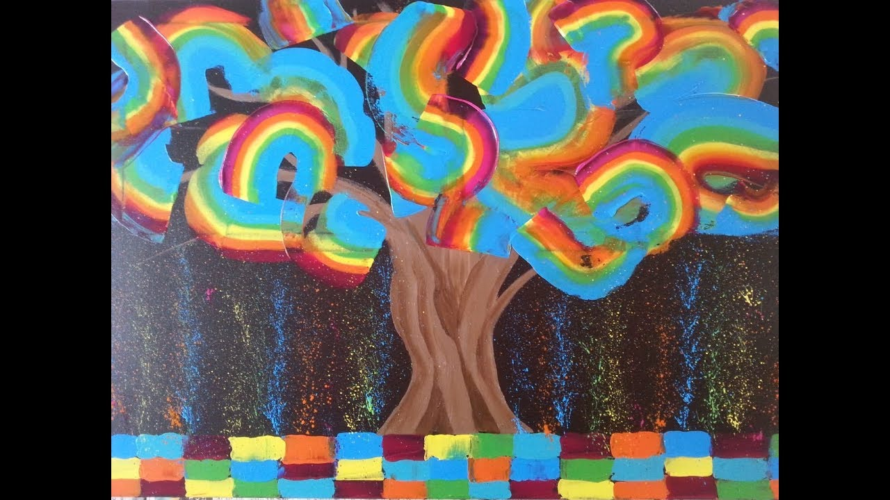 Colorful Tree Palette Knife Abstract Acrylic Painting Regenbogen Baum Malen Mit Spachtel