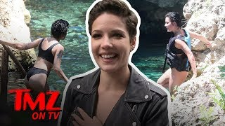 Halsey Zips Up But Still Shows LOTS Of Skin | TMZ TV