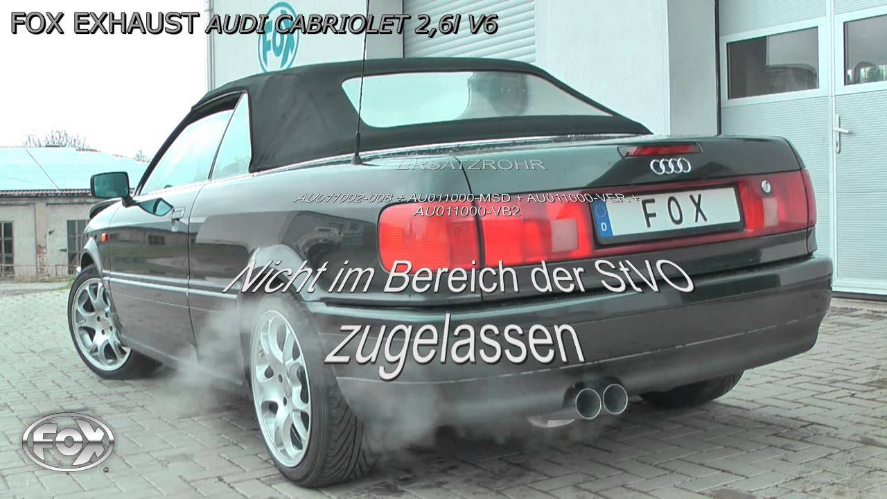 fox exhaust audi 80 b4 cabrio 2 6l v6 youtube. Black Bedroom Furniture Sets. Home Design Ideas