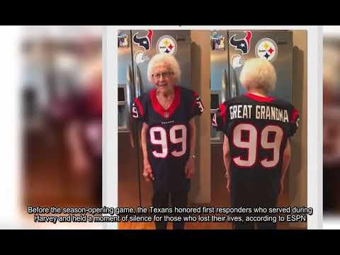 JJ Watt's 99 year old great grandmother wears his jersey