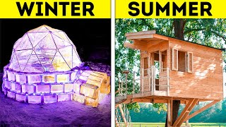 WINTER ICE IGLOO VS. SUMMER TREEHOUSE || Cheap And Giant DIY House Crafts From Wood, Ice And Clay