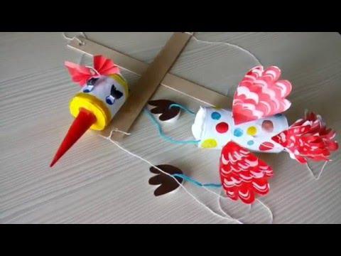 Птица марионетка из бумаги. Творчество с детьми. Бумажные ...