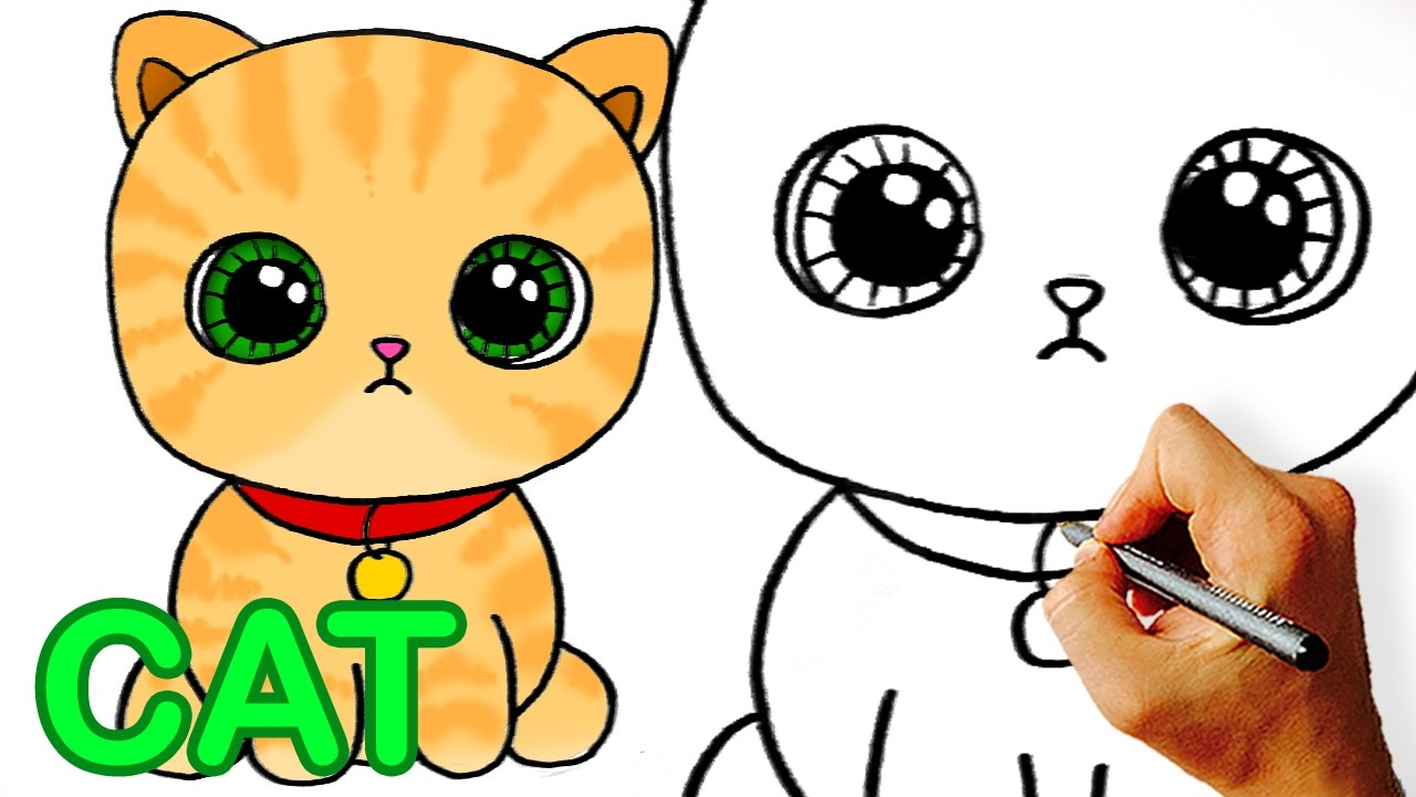 Very Easy How To Draw Cute Cartoon Cat Easy Art For Kids Youtube