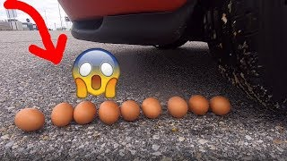 Crushing Crunchy & Soft Things by Car! EXPERIMENT: CAR VS EGGS, Squishy, SLIME BOTTLE,