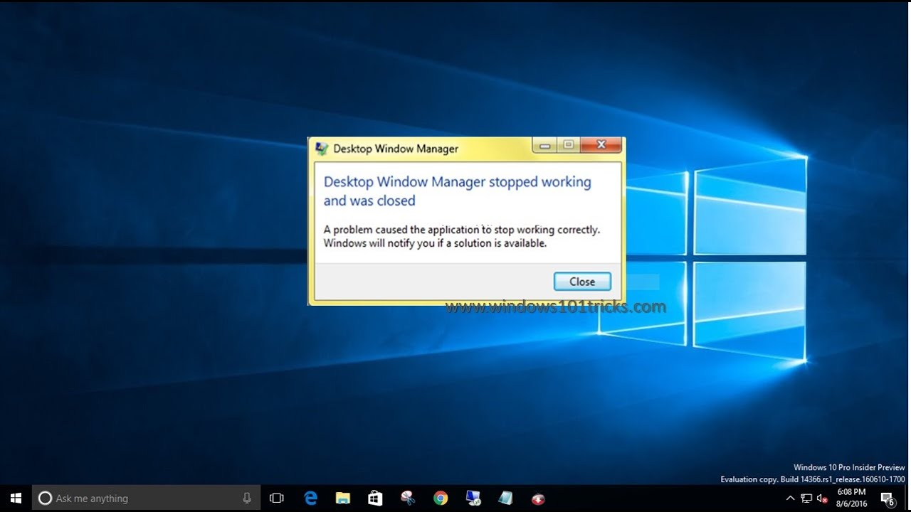 Fix Error Desktop Windows manager has stopped Working in windows 10 / 8.1 / 7