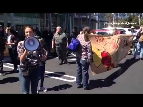 Protesters demonstrate in front of Sprouts Farmers Market in San Rafael.