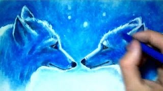 Drawing Time Lapse: Two Wolves